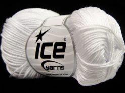 Lot of 6 Skeins Ice Yarns GIZA COTTON Hand Knitting Yarn White