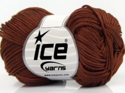 Lot of 6 Skeins Ice Yarns GIZA COTTON Hand Knitting Yarn Brown