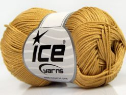 Lot of 6 Skeins Ice Yarns GIZA COTTON Hand Knitting Yarn Gold