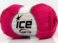 Lot of 6 Skeins Ice Yarns GIZA COTTON Hand Knitting Yarn Fuchsia