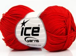 Lot of 6 Skeins Ice Yarns GIZA COTTON Hand Knitting Yarn Red