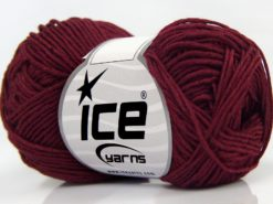 Lot of 8 Skeins Ice Yarns BABY BAMBOO (50% Bamboo) Hand Knitting Yarn Burgundy