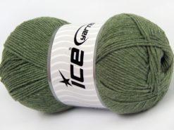 Lot of 4 x 100gr Skeins Ice Yarns LORENA (50% Cotton) Yarn Light Hunter Green