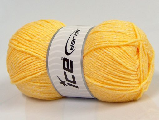 Lot of 4 x 100gr Skeins Ice Yarns NATURAL BABY (10% Bamboo 14% Cotton) Yarn Yellow Cream