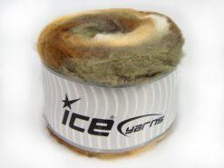 Lot of 2 x 150gr Skeins Ice Yarns CAKES FLUFFY (5% Mohair) Yarn Khaki Shades Cream Shades