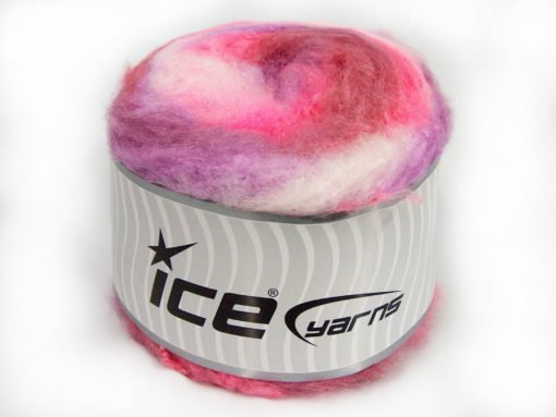 Lot of 2 x 150gr Skeins Ice Yarns CAKES FLUFFY (5% Mohair) Yarn Pink Shades Lilac Shades