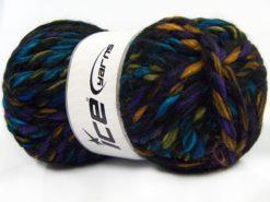 Lot of 4 x 100gr Skeins Ice Yarns ASTORIA (25% Wool) Yarn Black Rainbow