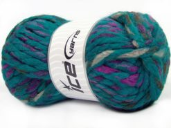 Lot of 4 x 100gr Skeins Ice Yarns ASTORIA (25% Wool) Yarn Turquoise Shades Camel Lilac Brown