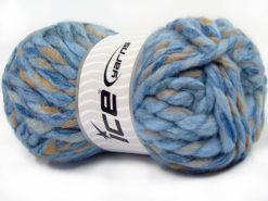 Lot of 4 x 100gr Skeins Ice Yarns ASTORIA (25% Wool) Yarn Blue Shades Camel White
