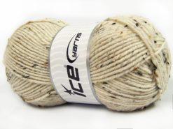 Lot of 4 x 100gr Skeins Ice Yarns SUPER TWEED (20% Wool 5% Viscose) Yarn Dark Cream