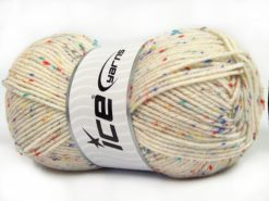 Lot of 4 x 100gr Skeins Ice Yarns SUPER TWEED (20% Wool 5% Viscose) Yarn Cream