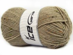 Lot of 4 x 100gr Skeins Ice Yarns SUPER TWEED (20% Wool 5% Viscose) Yarn Dark Beige