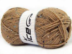 Lot of 4 x 100gr Skeins Ice Yarns SUPER TWEED (20% Wool 5% Viscose) Yarn Light Brown
