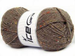 Lot of 4 x 100gr Skeins Ice Yarns SUPER TWEED (20% Wool 5% Viscose) Yarn Brown