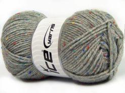 Lot of 4 x 100gr Skeins Ice Yarns SUPER TWEED (20% Wool 5% Viscose) Yarn Light Grey