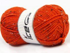 Lot of 4 x 100gr Skeins Ice Yarns SUPER TWEED (20% Wool 5% Viscose) Yarn Orange