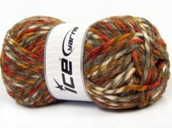 Lot of 4 x 100gr Skeins Ice Yarns THOR (25% Wool) Yarn Brown Shades Copper White