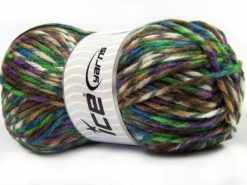 Lot of 4 x 100gr Skeins Ice Yarns THOR (25% Wool) Yarn Purple Green Turquoise Brown Shades