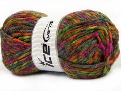 Lot of 4 x 100gr Skeins Ice Yarns THOR (25% Wool) Yarn Fuchsia Green Shades Orange