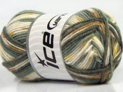 Lot of 8 Skeins Ice Yarns MINI BABY DESIGN (25% Wool) Yarn Grey Shades White Camel Yellow