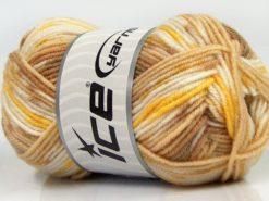 Lot of 8 Skeins Ice Yarns MINI BABY DESIGN (25% Wool) Yarn Brown Shades White Yellow
