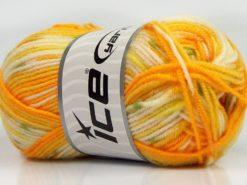 Lot of 8 Skeins Ice Yarns MINI BABY DESIGN (25% Wool) Yarn Yellow Shades White Green