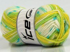 Lot of 8 Skeins Ice Yarns MINI BABY DESIGN (25% Wool) Yarn Green Shades White Turquoise Yellow