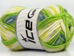 Lot of 8 Skeins Ice Yarns MINI BABY DESIGN (25% Wool) Yarn Green Shades White Yellow Indigo blue