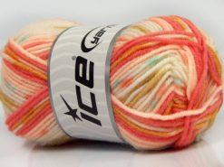 Lot of 8 Skeins Ice Yarns MINI BABY DESIGN (25% Wool) Yarn Salmon Shades Gold Turquoise