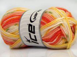 Lot of 8 Skeins Ice Yarns MINI BABY DESIGN (25% Wool) Yarn Salmon Shades Yellow White Green