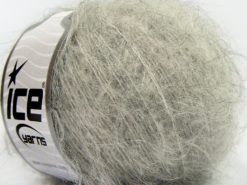 Lot of 8 Skeins Ice Yarns KID MOHAIR ALPACA LIGHT (41% Alpaca Superfine 41% Kid Mohair) Yarn Light Grey