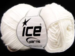 Lot of 8 Skeins Ice Yarns PURE COTTON (100% Cotton) Hand Knitting Yarn White