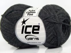 Lot of 8 Skeins Ice Yarns TUBE COTTON FINE (67% Cotton) Yarn Anthracite Black