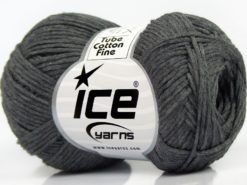 Lot of 8 Skeins Ice Yarns TUBE COTTON FINE (67% Cotton) Yarn Dark Grey