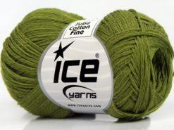 Lot of 8 Skeins Ice Yarns TUBE COTTON FINE (67% Cotton) Yarn Green