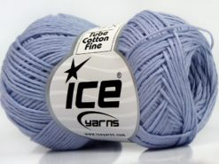 Lot of 8 Skeins Ice Yarns TUBE COTTON FINE (67% Cotton) Yarn Light Lilac