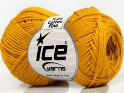 Lot of 8 Skeins Ice Yarns TUBE COTTON FINE (67% Cotton) Hand Knitting Yarn Gold
