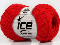 Lot of 8 Skeins Ice Yarns TUBE COTTON FINE (67% Cotton) Yarn Light Red