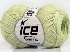 Lot of 8 Skeins Ice Yarns TUBE COTTON FINE (67% Cotton) Yarn Light Mint Green