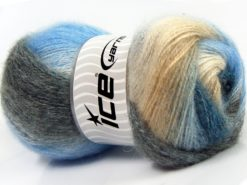 Lot of 4 x 100gr Skeins Ice Yarns MOHAIR PASTEL (10% Mohair 15% Wool) Yarn Blue Shades Purple Shades