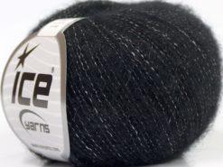 Lot of 10 Skeins Ice Yarns MERINO SUPERFINE COTTON (66% Extrafine Merino Wool 16% Cotton) Yarn Black