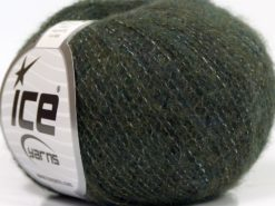 Lot of 10 Skeins Ice Yarns MERINO SUPERFINE COTTON (66% Extrafine Merino Wool 16% Cotton) Yarn Dark Green