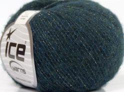 Lot of 10 Skeins Ice Yarns MERINO SUPERFINE COTTON (66% Extrafine Merino Wool 16% Cotton) Yarn Dark Teal Green