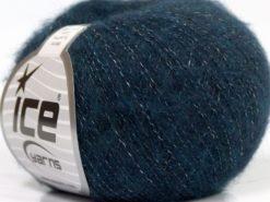 Lot of 10 Skeins Ice Yarns MERINO SUPERFINE COTTON (66% Extrafine Merino Wool 16% Cotton) Yarn Dark Teal Navy
