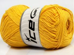 Lot of 4 x 100gr Skeins Ice Yarns NATURAL COTTON (100% Cotton) Yarn Yellow