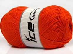 Lot of 4 x 100gr Skeins Ice Yarns NATURAL COTTON (100% Cotton) Yarn Orange