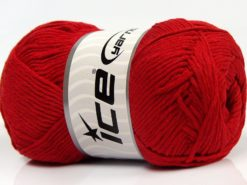 Lot of 4 x 100gr Skeins Ice Yarns NATURAL COTTON (100% Cotton) Yarn Red