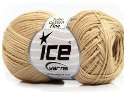 Lot of 8 Skeins Ice Yarns TUBE COTTON FINE (67% Cotton) Yarn Dark Cream