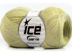 Lot of 8 Skeins Ice Yarns CASHMERE VISCOSE (15% Cashmere 85% Viscose) Yarn Neon Green Light grey