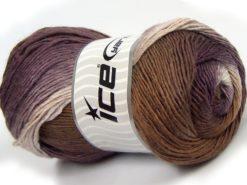 Lot of 4 x 100gr Skeins Ice Yarns SALE WINTER (50% Wool) Yarn Purple Brown White
